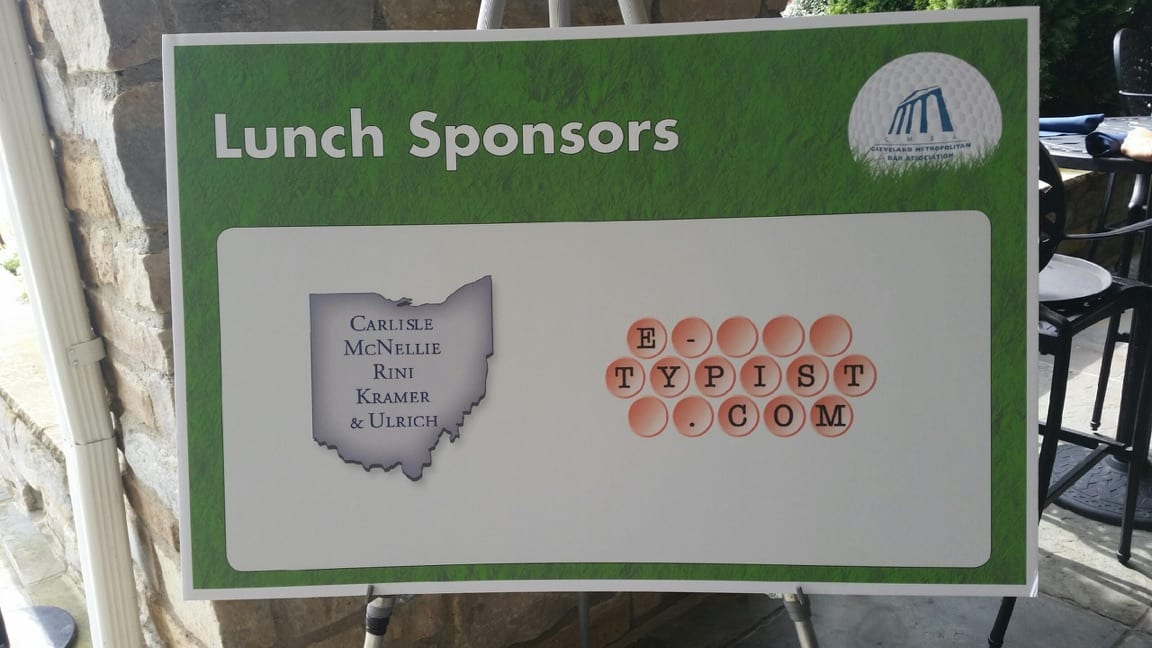 E-Typist Sponsors Cleveland Metro Bar Assn Golf Outing Lunch